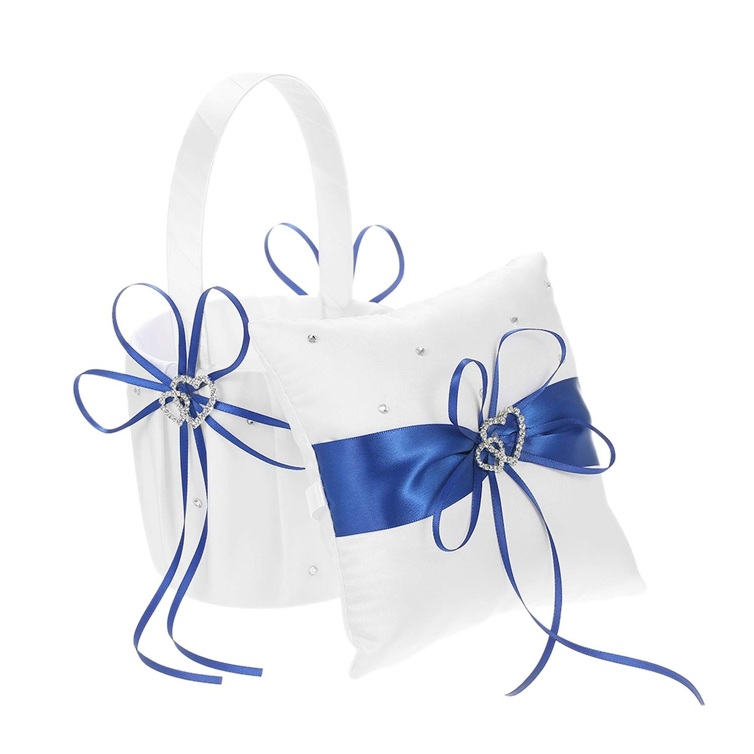 6 6 inches Double Heart Satin Ring Bearer Pillow and Wedding Flower Girl Basket Set with Rhinestone Ribbon Decoration White,Blue by Suangu-flower baskets