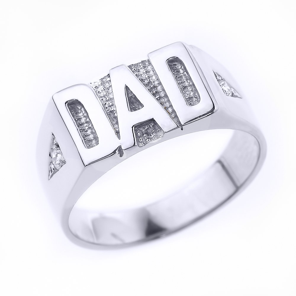 Fine 925 Sterling Silver CZ Dad Ring for Men, Size 10.5