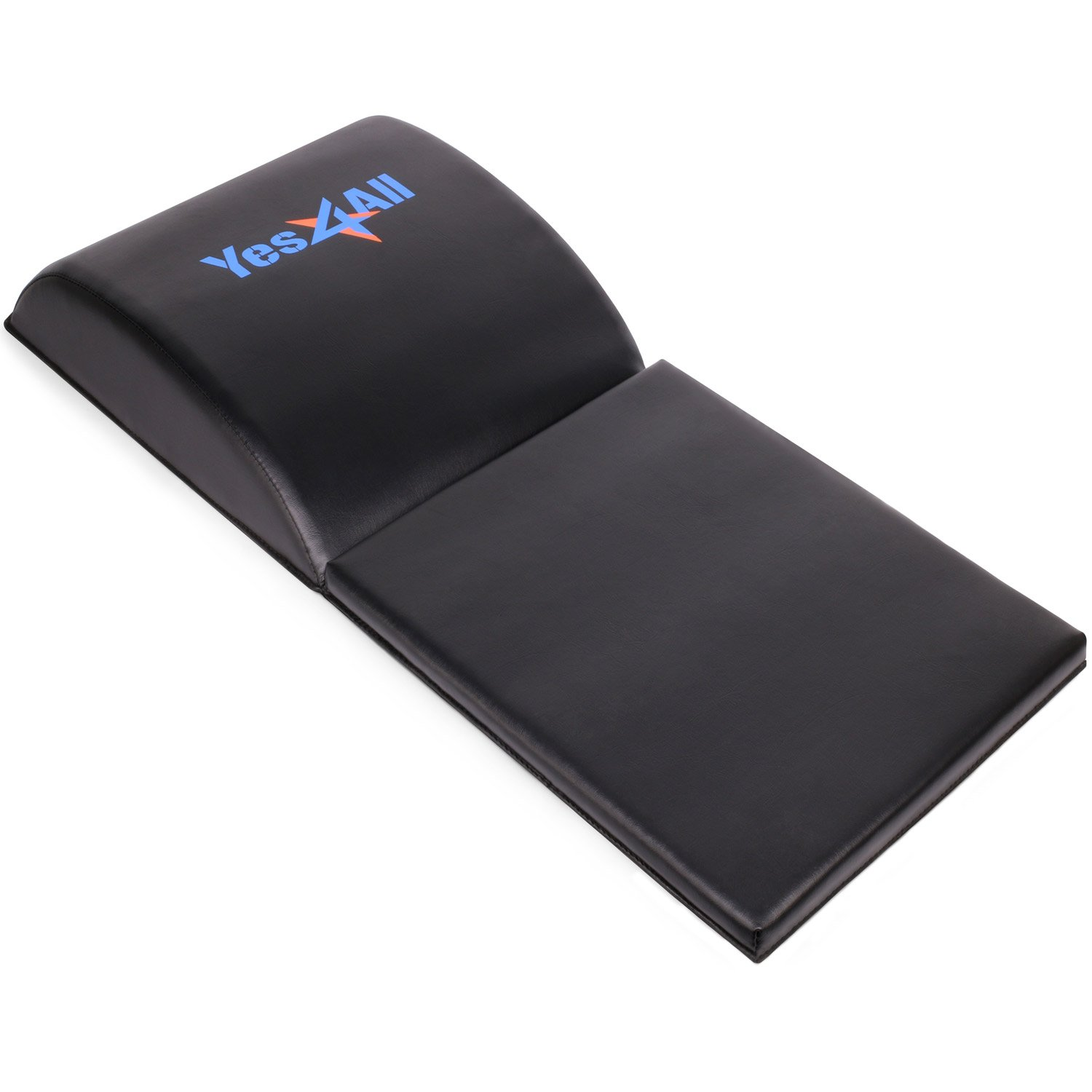 Yes4All Ab Exercise Mat with Tailbone Protecting Pad, Abdominal Wedge Support for Abs Workout, Sit Up Abdominal Mat Tailbone Protector Black
