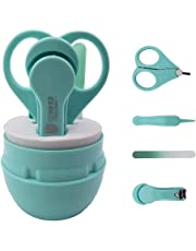 Baby Nail Clippers 4 in1 Kit:Nail clipper, Safe Scissor, Nail File,Round tweezers,For Newborn, Baby, Infant and Toddler Grooming Kit by Alices(green)