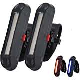 2 Pack Rear Bike Tail Light, Ultra Bright USB Rechargeable Bicycle Taillights, Red/Blue High Intensity Led Accessories…