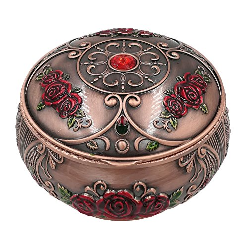 Honoro Vintage Ashtray with Lid,Metal Windproof Cigarettes Ashtray with Gift Box for Home Office Tabletop Decoration,Red Rose Red Bronze (Ashtray Red)