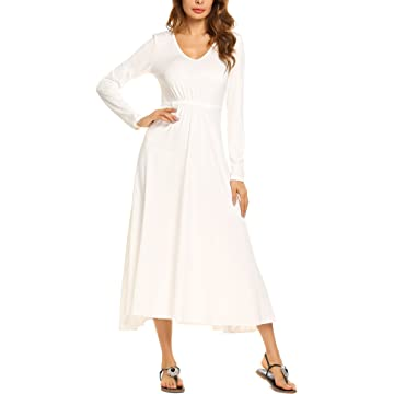 Beyove Women's Casual Long Sleeve V-Neck Plus Size Flowy Gowns Maxi Dress