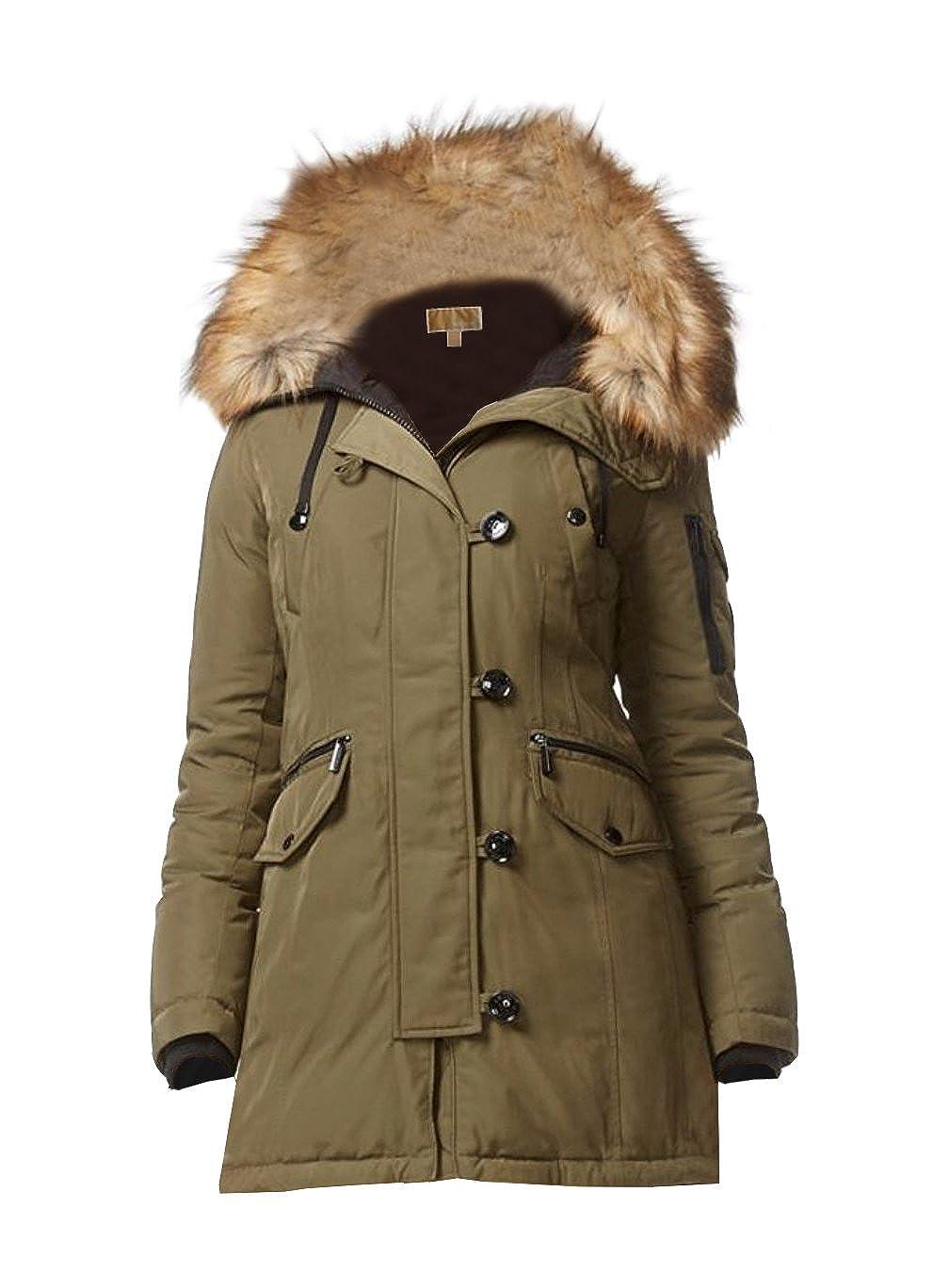 77488b570d1 Michael Michael Kors Faux Fur-trimmed Hooded Parka- Olive