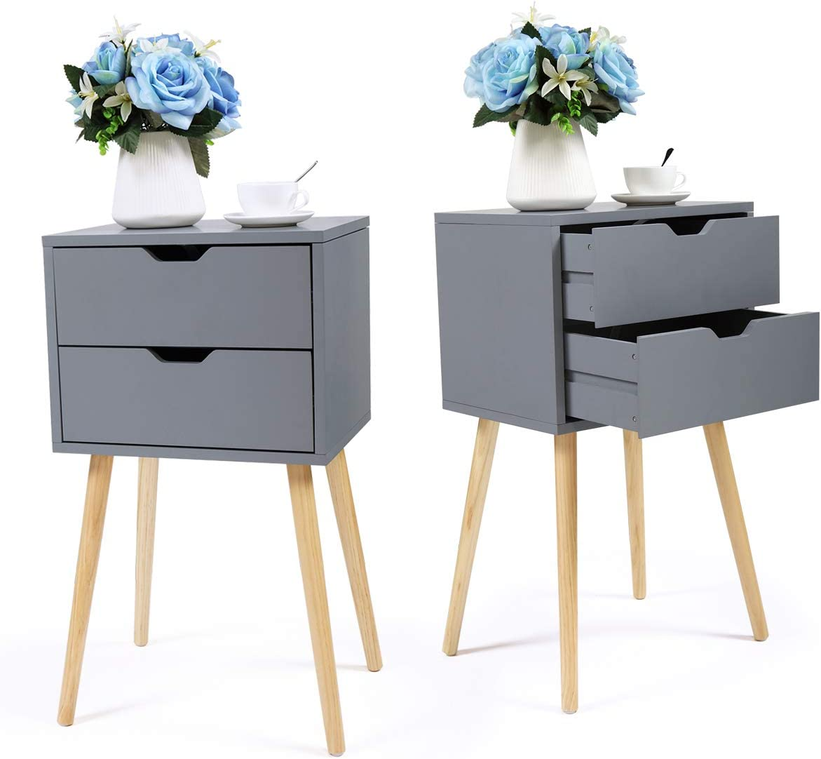 JAXPETY Set of 2 Nightstand 2 Drawers End Table Storage Wood Cabinet Bedroom Accent Side Table Gray