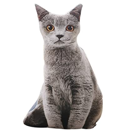 chezmax cute 3d stuffed plush grey cat shape pillow insert filler filling throw pillow plush play