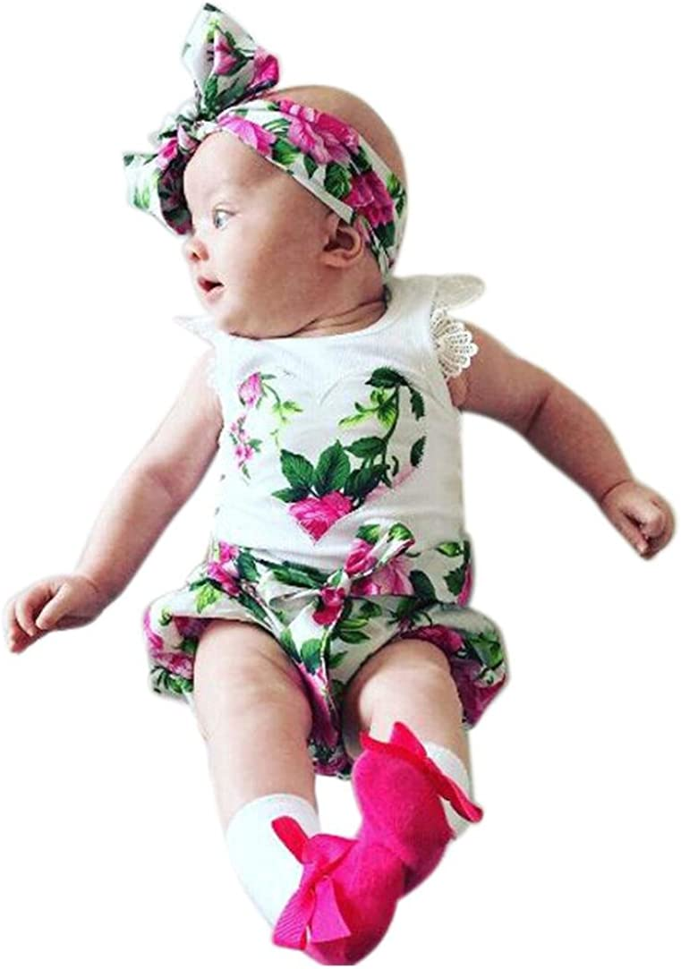 Fabal Newborn Baby Girl Floral Lace Tops Shorts Pants Headband Outfits Set Clothes