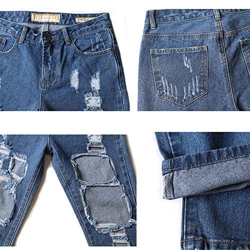 Vaqueros Azul Jeans Agujero Rectos Pantalones Mujer Suelto Marino Jeans Cintura Alta Azul Rasgado wpCqSX