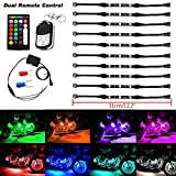 niceEshop(TM) 10 Pcs Motorcycle LED Light Kit Strip Flexible Multi Color Accent Glow Neon Lights Lamp with Remote Controller for Car SUV Truck Bike ATV