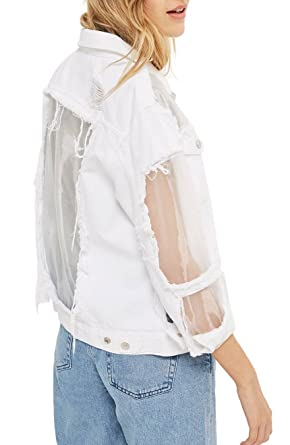 284ab6dd2c400f Image Unavailable. Image not available for. Color: Topshop Organza Ripped  Denim Jacket - White ...