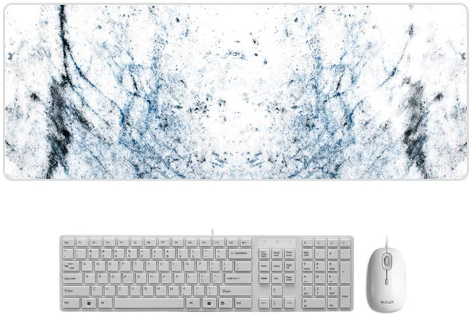 Suitable for Desktop//Notebook,800x300mmx5mm Mouse Pad HD Marble Style Desk Pad Large Padded Waterproof Non-Slip Keyboard Pad