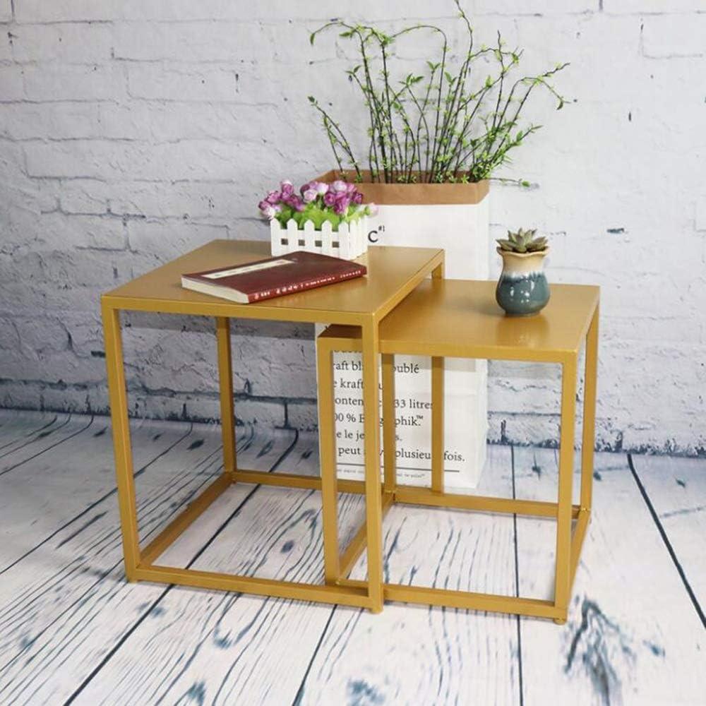 YNN Table Tables gigognes, Ensemble de 2 Tables d\'appoint, Table de Nuit Moderne pour Salon/Chambre à Coucher, Fer à Repasser (Noir, Or) (Couleur : Or) Or