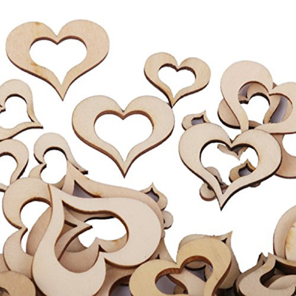 SUPVOX Fette di cuore in legno Blank Abbellimenti di cuore in legno per DIY Artigianato Card Making Party Wedding Decor 100PCS