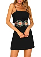 Futurino Women's Floral Embroidery Cut Out Waist Back Bodycon Mini Dress
