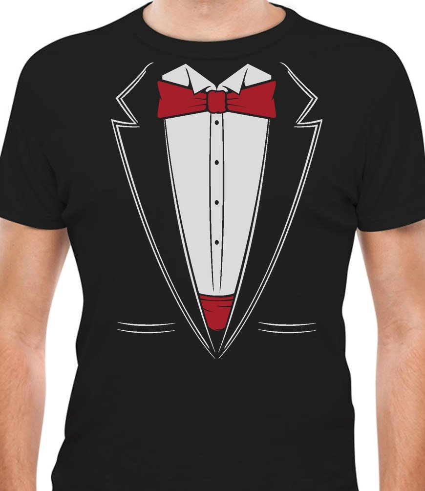 TeeStars Printed Suit & Tie Tuxedo - Red Bow Tie Bachelor Party T-Shirt Large Black