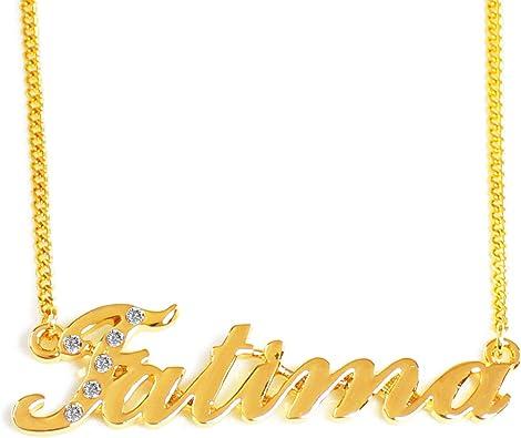 Regalo Personalizado 18k oro había plateado corazón Colgante Collar de nombre inicial con