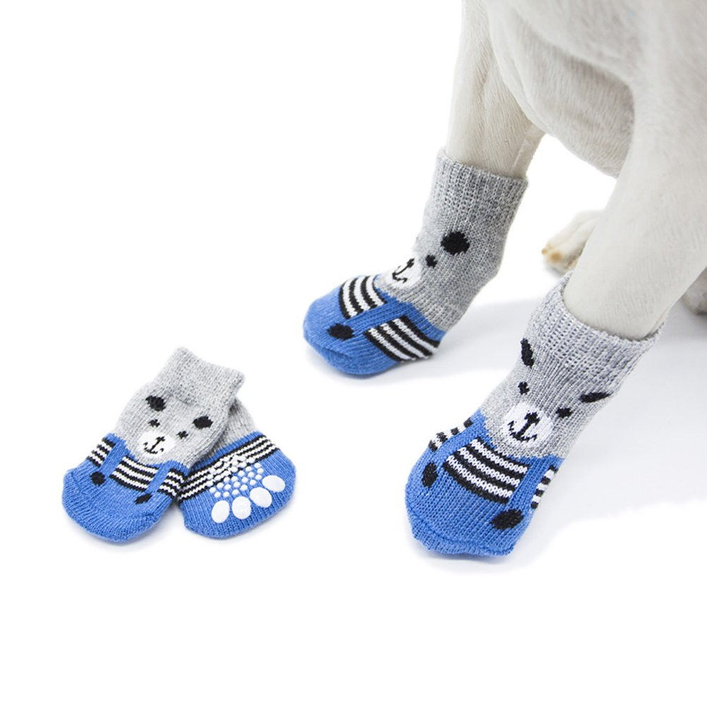Amazon.com : UEETEK Dog Socks UEETEK Anti-slip Pet Puppy Dog Paw Protectors for Indoor Wear 4pcs - Size S : Pet Supplies