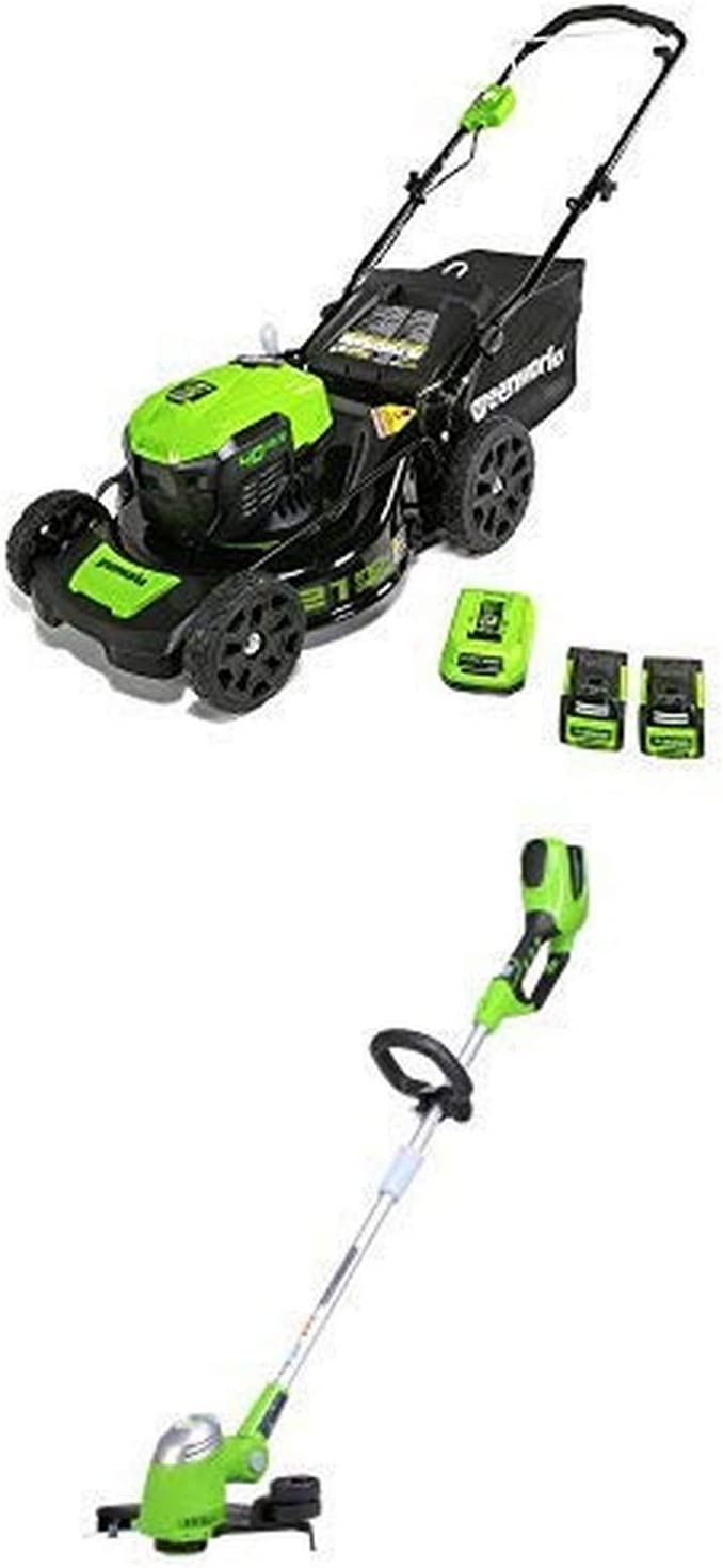 Greenworks 21-Inch 40V Brushless Cordless Mower with 13-Inch 40V Cordless String trimmer//Edger Battery Not Included 21332