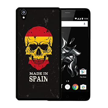 WoowCase Funda para OnePlus X, [OnePlus X ] Silicona Gel Flexible Calavera Bandera Made In Spain, Carcasa Case TPU Silicona - Negro