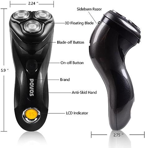 POVOS Maquinilla de afeitar eléctrica, inalámbrica recargable con ...