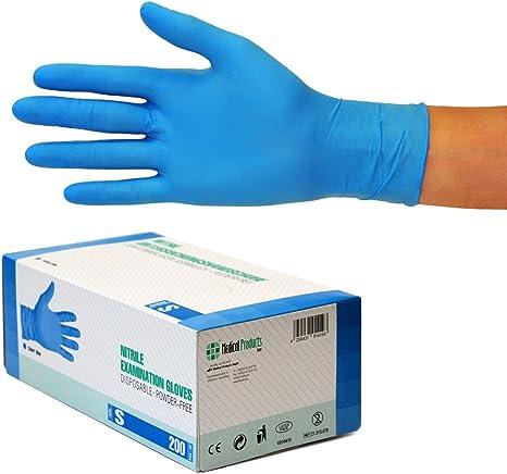 Talla L Azul Paquete de 1 Par de Guantes sin Polvo St John Ambulance Guantes de Examen de Nitrilo