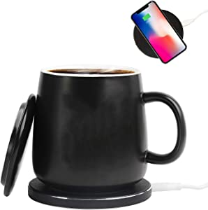 Coffee Cup Warmer & Wireless Charger with Auto-Shut 2 IN 1 Heating Mug Cup Warmer Set for Home/Office to Warm Coffee, Tea, Milk, Water Mug