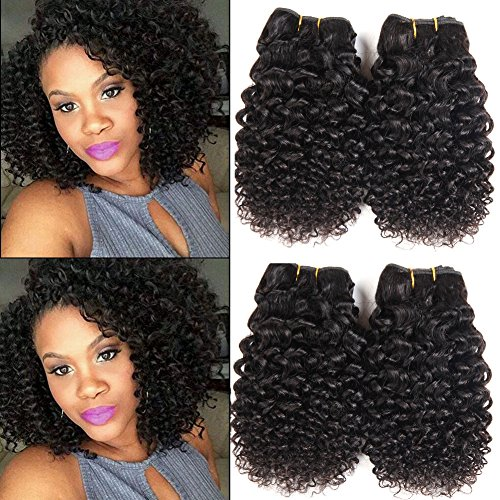 Brazilian Hair 4 Bundles 10″ Inch Short Jerry Curly Human Hair Extension 10A Brazilian Curly Hair Weave Unprocessed Natural Color 50g/pcs Total 200g 100% Virgin Hair Kinky Curly Bundle Deals Review