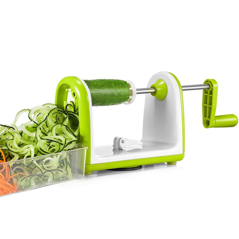 Bonsenkitchen Veggie Salad Spiralizer Slicer 5 Blades Vettable Pasta Spiral Maker