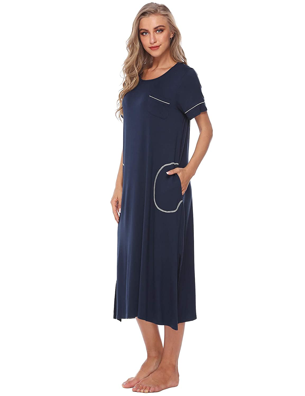 47d78f82da17 Barnkas Womens Nightshirt Long Sleeves Dress Nightgown Sleepshirt Casual  Loose Soft Sleepwear at Amazon Women's Clothing store: