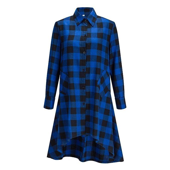 Beauty7 36 Colores Mezclados a Cuadros Negro Azul Rojo Blanco Camisa de Vestido Falda Irregular con