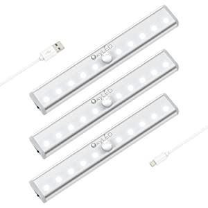 Under Cabinet Lighting, OxyLED USB Rechargeable Motion Sensor Closet Lights, Stick-on Cordless 10 LED Night Light Bar for Closet Cabinet Wardrobe Stairs, 3 Pack