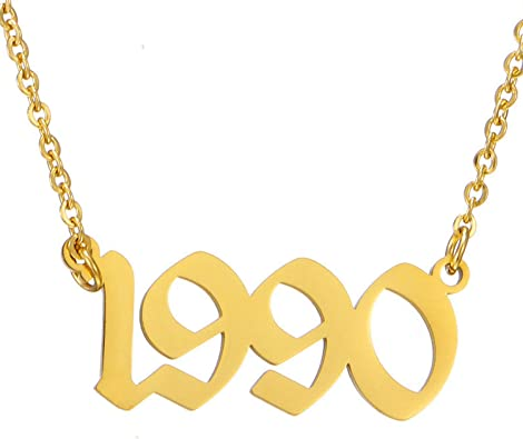 Gold 1995 Birth year necklace,Anniversary Gift,Anniversary Necklace,Birthday Necklace,wedding date necklace,Number necklace,Christmas Gift