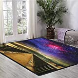 Universe Super Cozy Bathroom Rug Carpet,Galaxy Cosmos Wooden Bridge Panoramic View Celestial Space Print Suitable for Home Decor Pale Brown Purple Hot Pink 55'x63'
