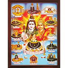 Handicraftstore Hindu God Shiva Parvathi with 12 Lingams Wall Hanging Poster Painting/ Lord Mahadev Home Decorative Photo Picture with Wooden Frame/Shiv Parivar Portrait-Religious Art Gift Water Proof