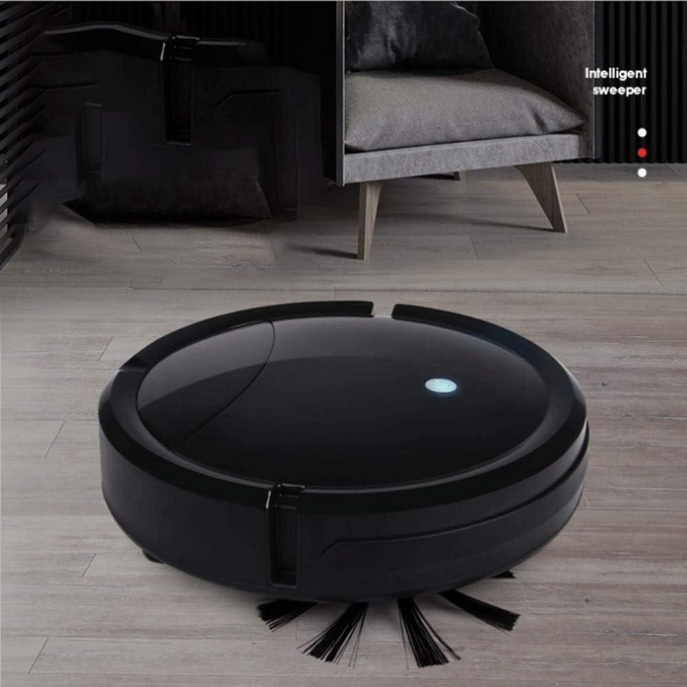 SMX 3 dans 1 Smart Aspirateur Robot de Balayage Automatique Rechargeable Forte Aspiration Flexible Avant Conduite étage Mopping Run 100 Min (Color : Pink) Black