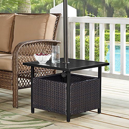 Ulax Furniture Patio Outdoor Wicker Umbrella Stand Bistro Table, Side Table (Side Umbrella Table)