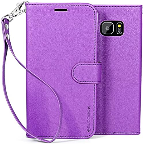 Galaxy S7 Edge Case, BUDDIBOX [Wrist Strap] Premium PU Leather Wallet Case with [Kickstand] Card Holder and ID Slot for Samsung Galaxy S7 Edge, (Purple) Sales