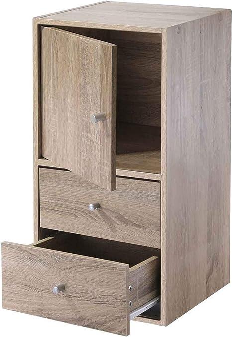 Casame Meuble 2 Cases Avec Une Porte Et 2 Tiroirs Decor Bois Amazon Fr Cuisine Maison