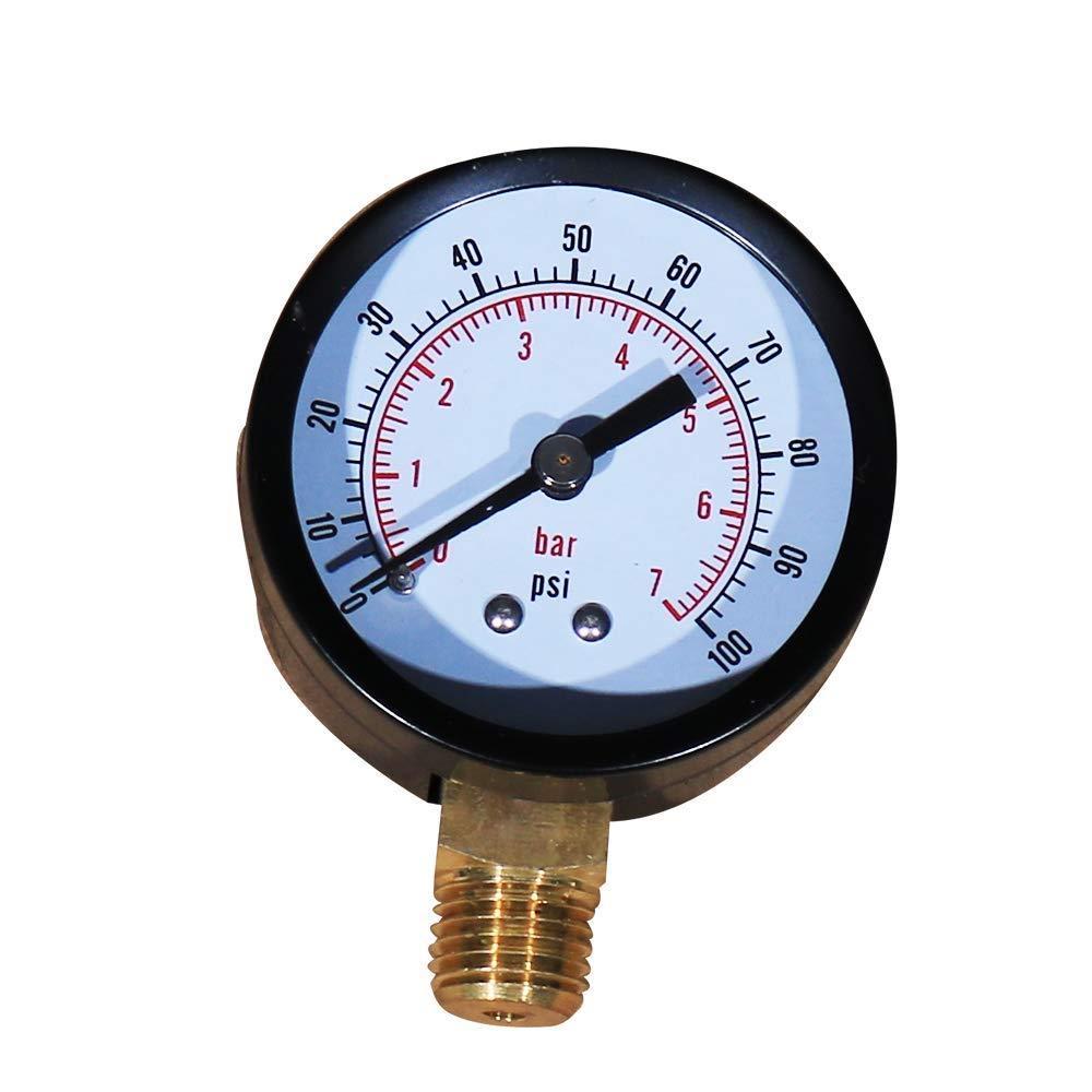 Daveyspa Pool and Spa Filter Pressure Gauge 0-100 PSI 1/4'' NPT Lower Mount Pressure Gauge for Water, Oil, Gas (100Psi) by Daveyspa
