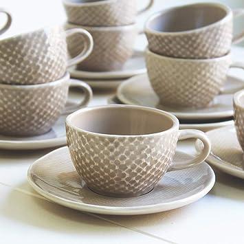Desconocido Juego de Café 12 Unidades, 6 Platos y 6 Tazas. Hecho en Portugal, Cerámica Artesanal, Color Tostado: Amazon.es: Hogar