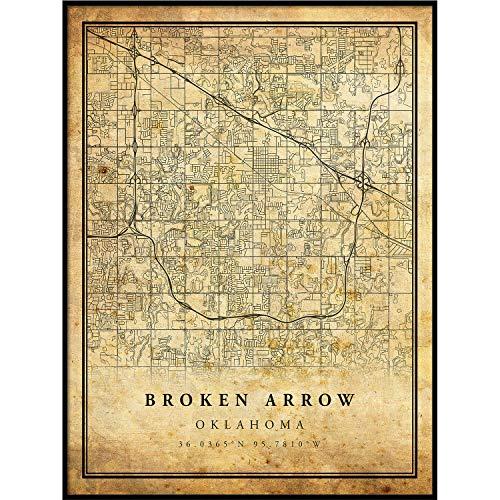 Broken Arrow map Vintage Style Poster Print | Old City Artwork Prints | Antique Style Home Decor | Oklahoma Wall Art Gift | Vintage map Wedding 20x30 ()