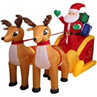 Inflatable Christmas Decorations Santa Snowman with LED Light Xmas Party Outdoor Santa's Reindeer 2.2m