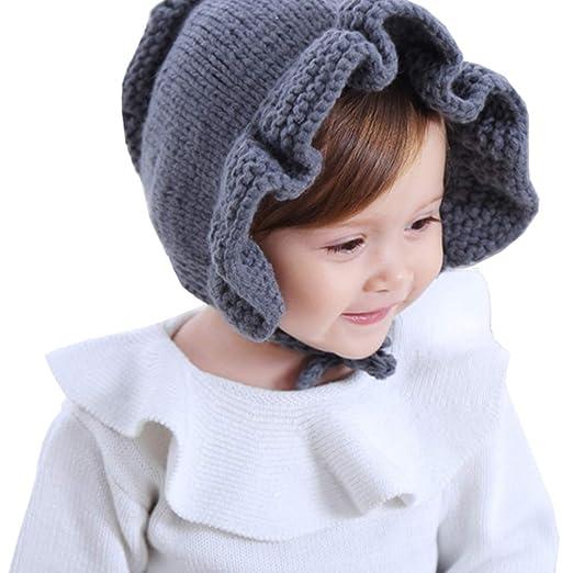 b4c38198c50 Kids-Baby-Toddlers Winter-Knit Ruffle Bonnet-Hats - Infant Ear Warm