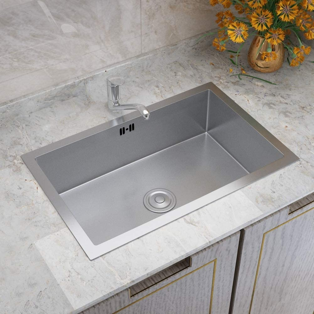 Size: 440mm x 440mm x 200mm Warmiehomy Stainless Steel Kitchen Sink Square Single Bowl Kitchen Sink Reversible Sink with Silencer Pad Small Sinks