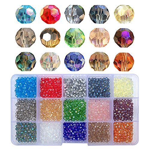 Chengmu 4mm 1500pcs Round Glass Beads for Jewelry Making Faceted Shape Multicolor AB Colour Crystal Spacer Beads Assortments Supplies for Bracelets Necklaces with Elastic Cord Storage Box
