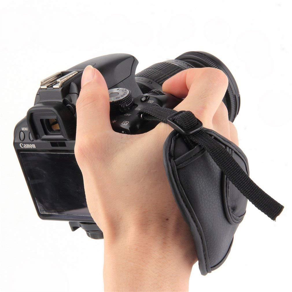 PU Leather Camera Hand Wrist Grip Strap for SLR DSLR Cameras Shelpter