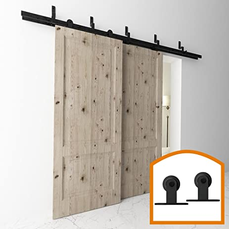 Great HomeDeco Hardware 10 FT Top Mount Bypass Double Sliding Barn Wood Door Track  Hardware Kit For