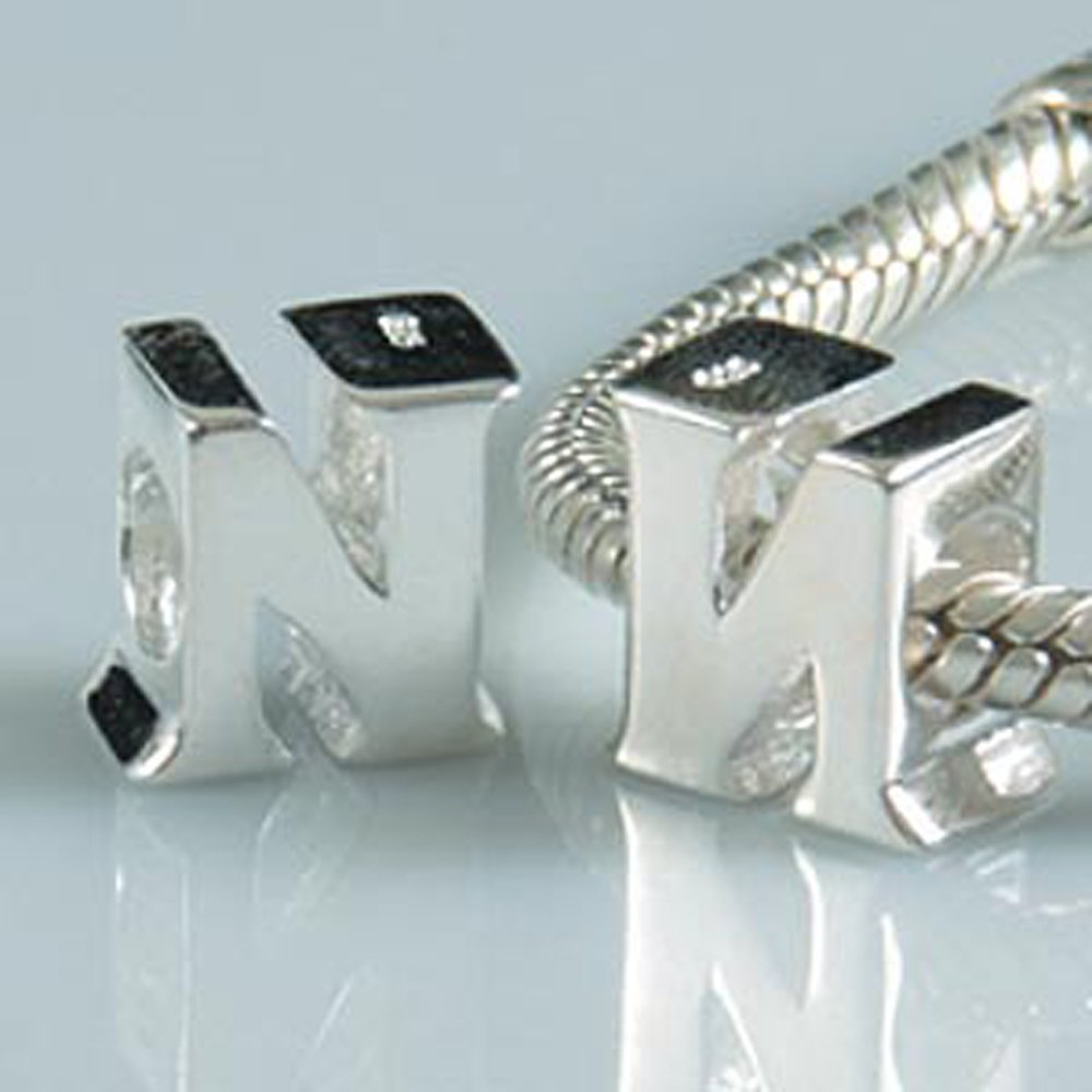 Letter N Charm Sterling Silver 925 Initial A-z Alphabet Beads Name Charm for Charms by Amoony Beads (Image #3)