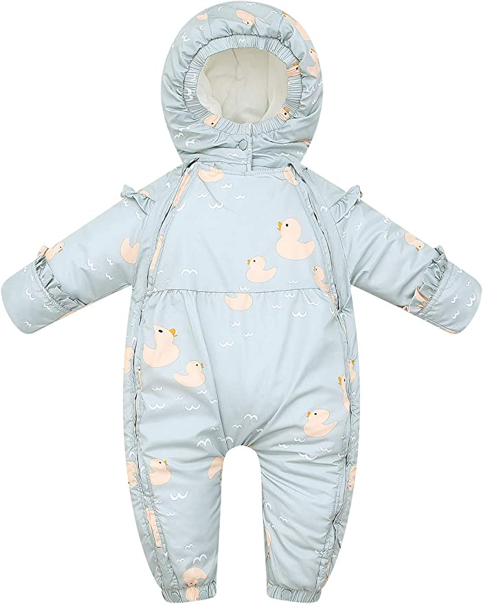 Winter Snowsuit Hooded Coat Romper Outfits Bowanadacles Infant Baby Girls Boys Zipper Down Jumpsuits with Gloves Snowwear