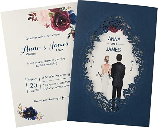 Dark Navy Blue Laser Cut Wedding Cards,Laser Cut Invitation Cards,Wedding Invitation,Laser Cut invites,Floral Engagemen Cards,Romantic Invitation Cards,Bridal Shower Cards,Engagement Cards,50pcs